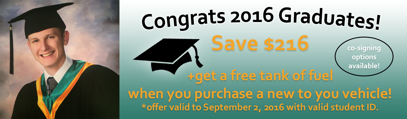 Graduate Promo - Save $216 when you buy a vehicle